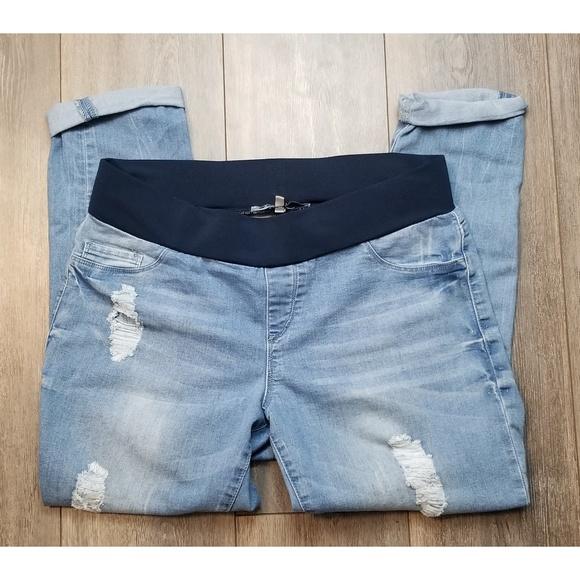 f20ac6027e S.O.N.G Maternity distressed Cropped jeans Large. M_5c48a9f5c89e1dc43dcaea47